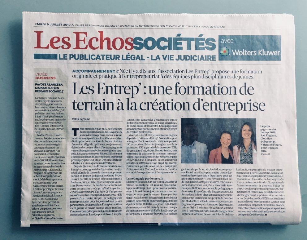 article presse les entrep' les echos formation terrain creation d'entreprise