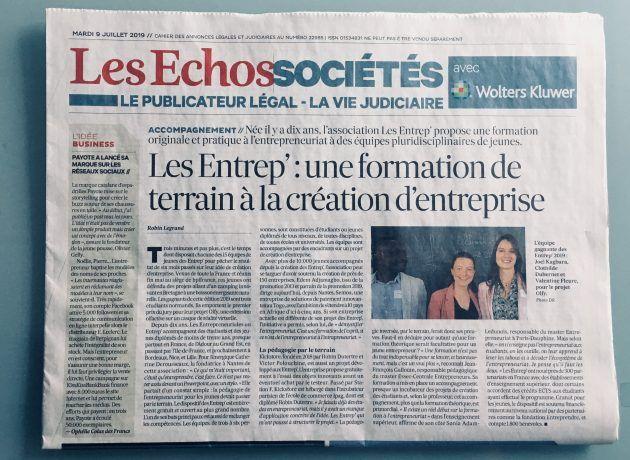 article presse les entrep' les echos formation terrain creation d'entreprise