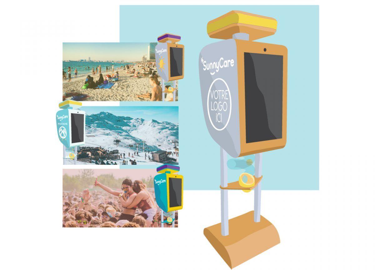 distributeur intelligent crème solaire gel hydroalcoolique